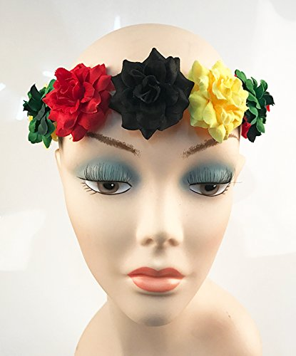 Floral Crown Stretch Headband with Rasta Colored Flowers by Best ... 90f80db13be