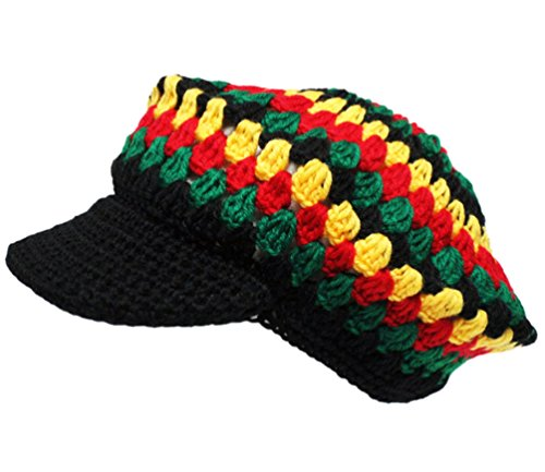 Knit Rasta Tam Hat With Visor Mosaic Pattern Rastaverse